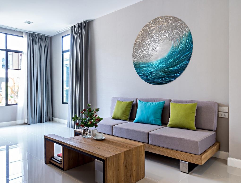Ag005rla Ocean Wave Round Liquid Art T Complete Colour
